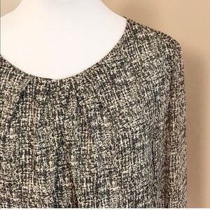 Ann Taylor Black Cream Pleated Blouse